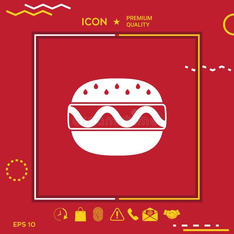 Ícone do Hamburger ou do cheeseburger ilustração royalty free