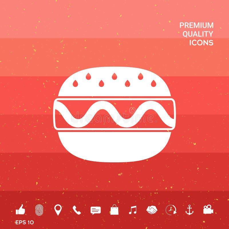 Ícone do Hamburger ou do cheeseburger ilustração stock