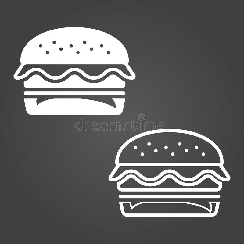 Ícone do Hamburger Versões do sólido e do esboço Ícones brancos em um dar ilustração do vetor