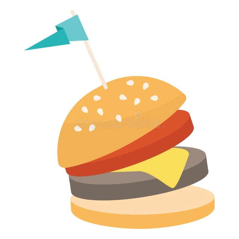 Ícone do hamburguer do fast food Ilustração do cheeseburger/desenhos animados do vetor ilustração stock