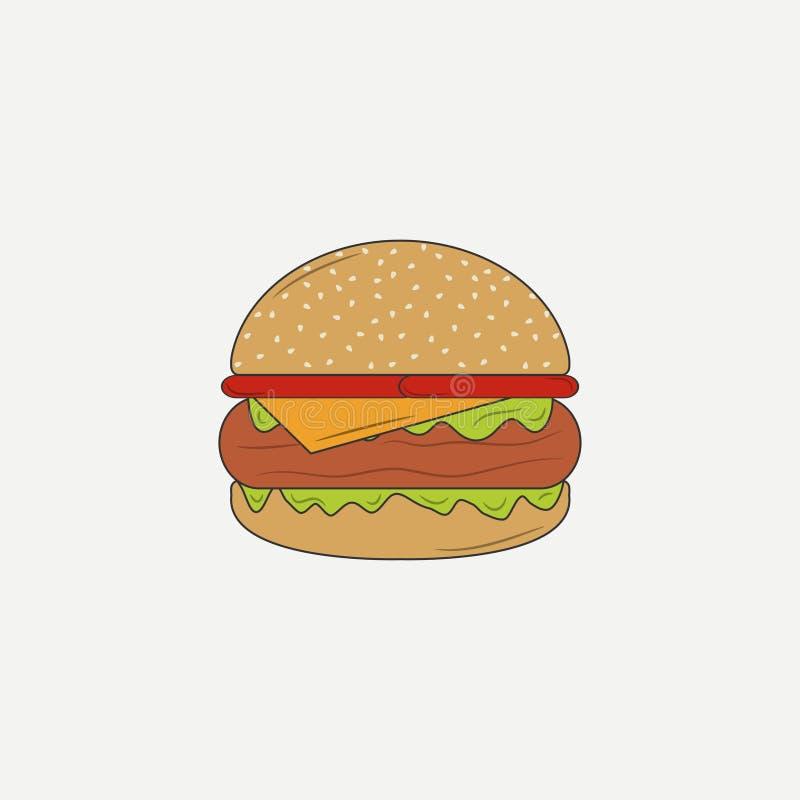 Ícone do hamburguer, Hamburger Ilustração do vetor ilustração do vetor