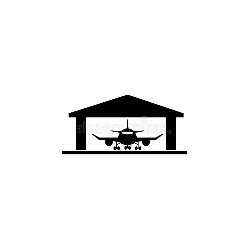Ícone do hangar dos aviões ilustração do vetor