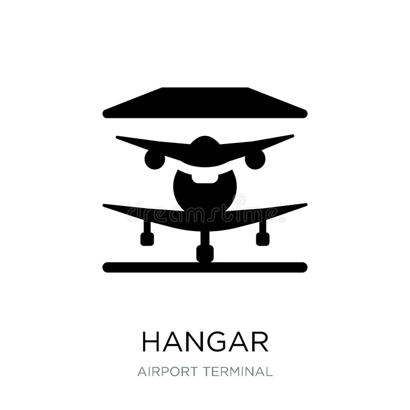 ícone do hangar no estilo na moda do projeto ícone do hangar isolado no fundo branco símbolo liso simples e moderno do ícone do v ilustração do vetor
