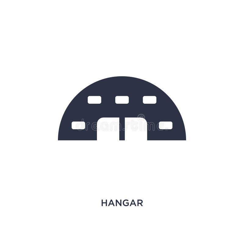 ícone do hangar no fundo branco Ilustração simples do elemento do conceito do terminal de aeroporto ilustração stock