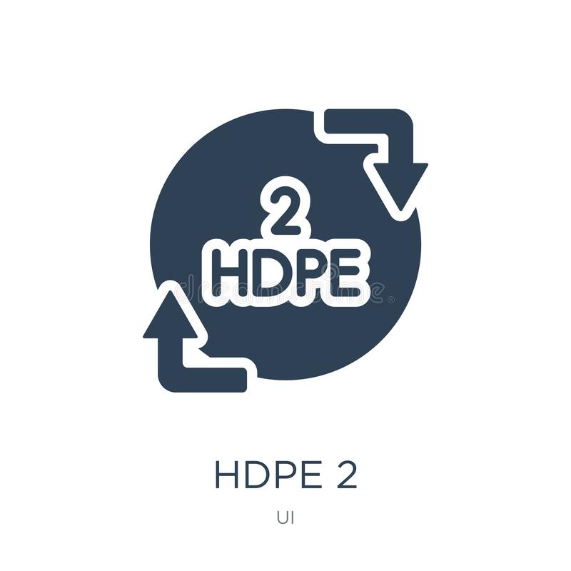ícone do hdpe 2 no estilo na moda do projeto ícone do hdpe 2 isolado no fundo branco símbolo liso simples e moderno do ícone do v ilustração royalty free