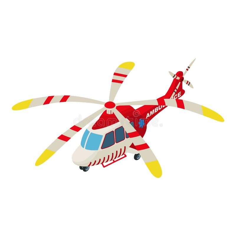 Ícone do helicóptero da ambulância, estilo isométrico ilustração do vetor