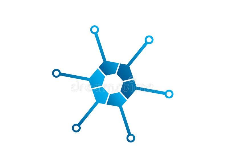 Ícone do hexágono da tecnologia para o ilustrador do projeto do logotipo, alto - símbolo da tecnologia ilustração do vetor