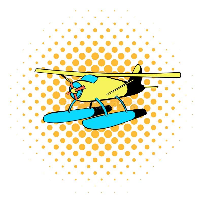 Ícone do hidroavião, estilo da banda desenhada ilustração stock