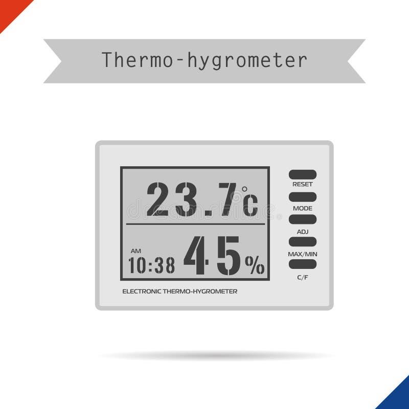 Ícone do higrômetro do termômetro de Digitas ilustração do vetor