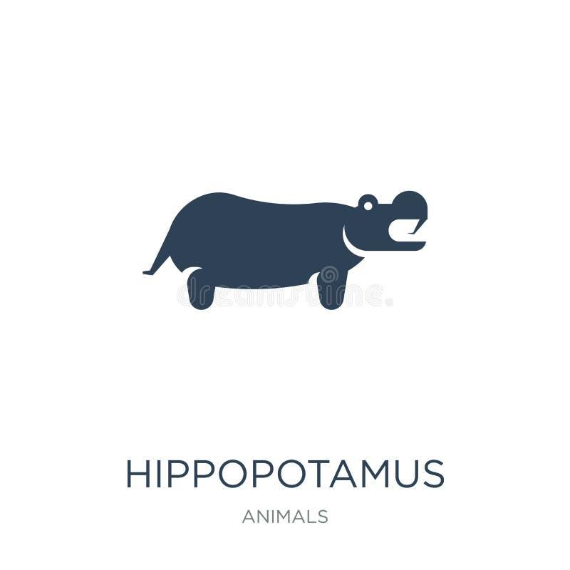 ícone do hipopótamo no estilo na moda do projeto ícone do hipopótamo isolado no fundo branco ícone do vetor do hipopótamo simples ilustração stock