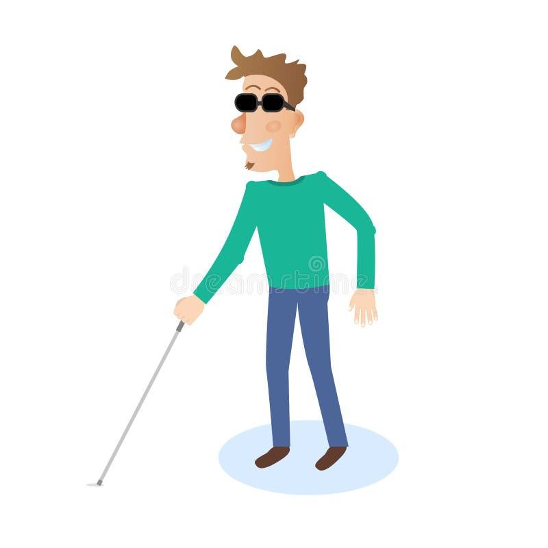 Ícone do homem cego Ilustração lisa do caráter do vetor ilustração royalty free