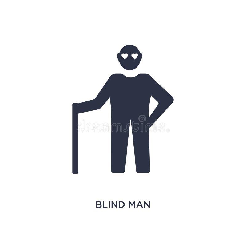 ícone do homem cego no fundo branco Ilustração simples do elemento do conceito do amor e romance ilustração royalty free