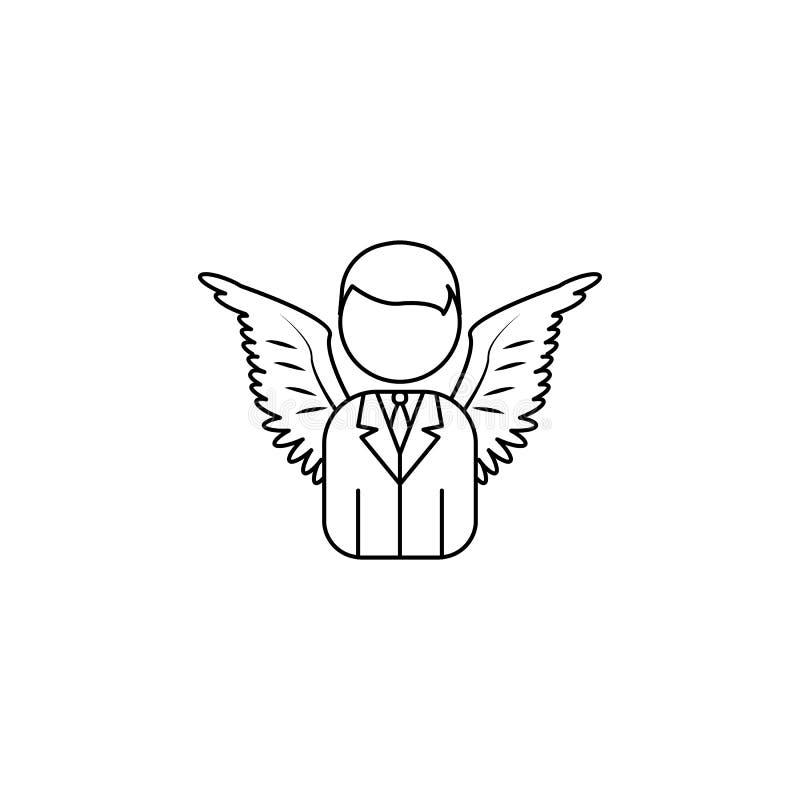 ícone do homem de negócio do anjo Elemento do anjo e do ícone do demônio para apps móveis do conceito e da Web Linha fina ícone p ilustração stock