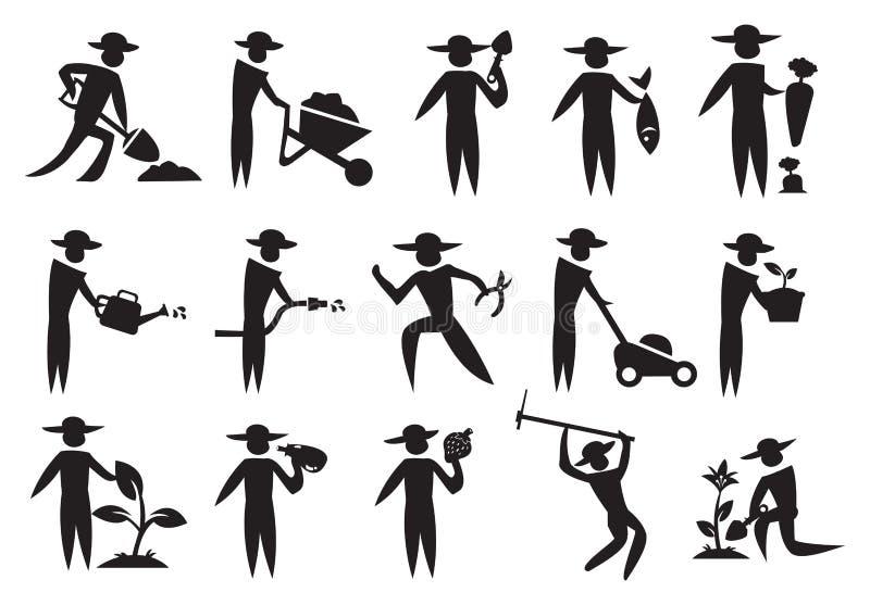 Ícone do homem do jardineiro ilustração do vetor