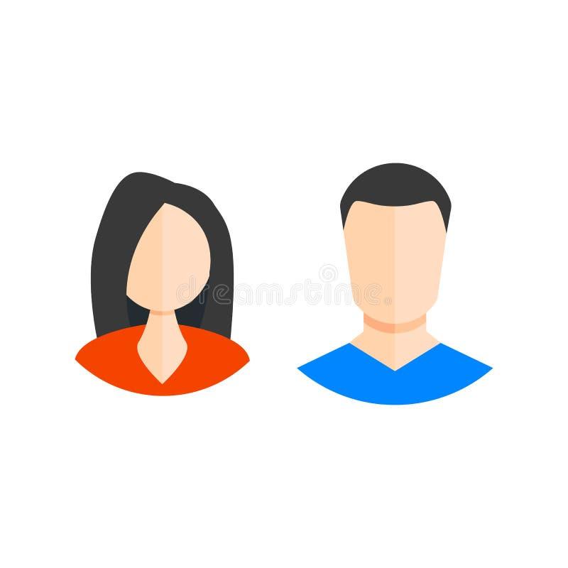 Ícone do homem e da mulher estilo liso dos ícones da Web Ilustração EPS10 do vetor ilustração stock