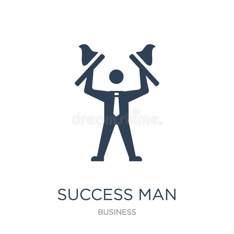 ícone do homem do sucesso no estilo na moda do projeto ícone do homem do sucesso isolado no fundo branco ícone do vetor do homem  ilustração stock