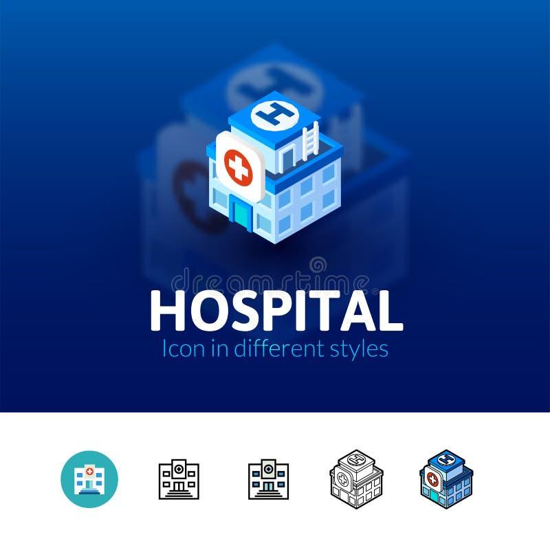 Ícone do hospital no estilo diferente ilustração stock