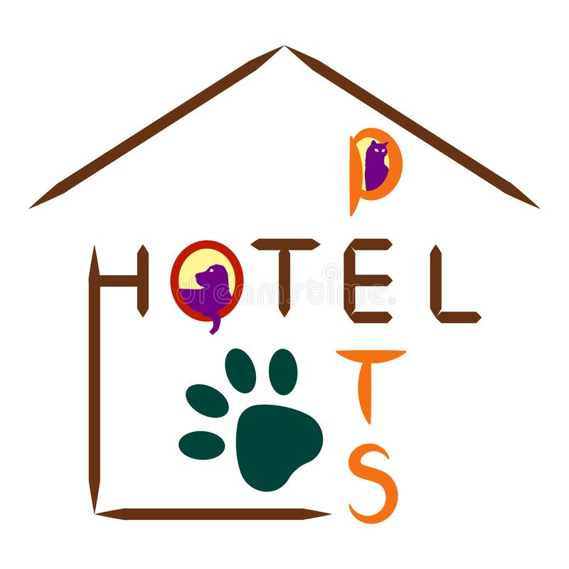 Ícone do hotel para animais de estimação em um fundo branco ilustração royalty free