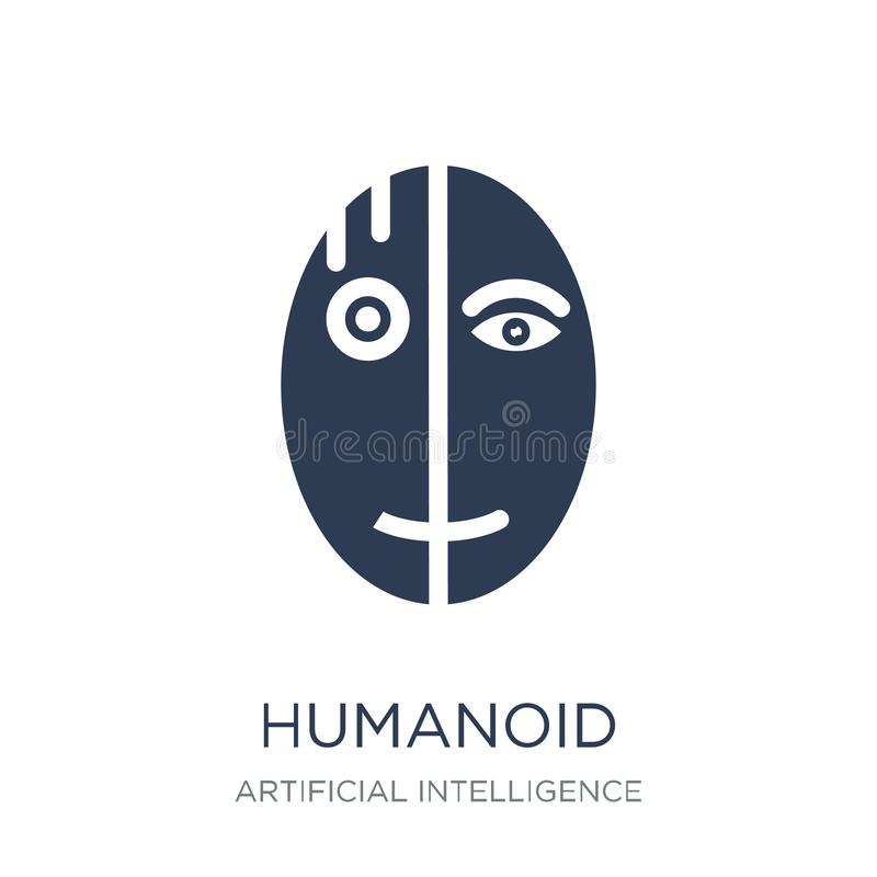 ícone do humanoid Ícone Humanoid do vetor liso na moda no backgro branco ilustração royalty free