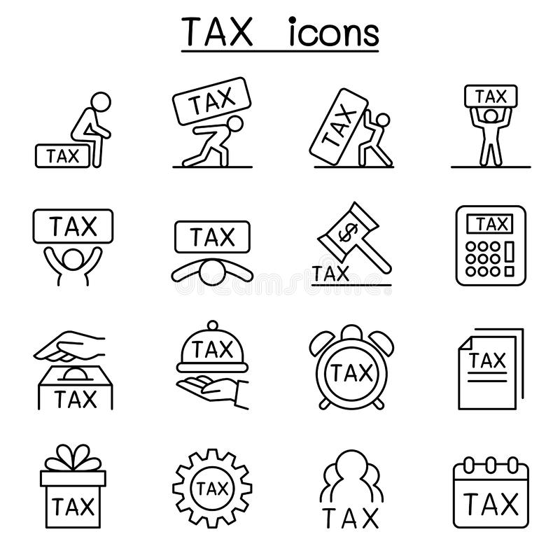 Ícone do imposto ajustado na linha estilo fina ilustração stock