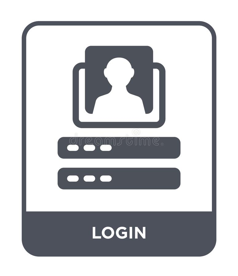 ícone do início de uma sessão no estilo na moda do projeto ícone do início de uma sessão isolado no fundo branco símbolo liso sim ilustração stock
