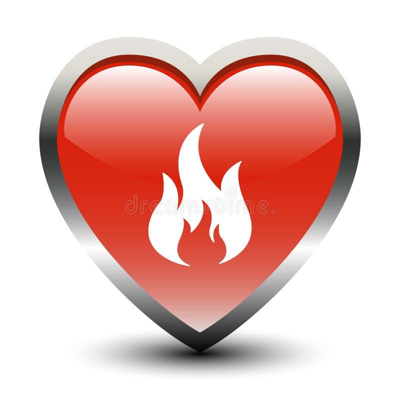 Ícone do incêndio da forma do coração ilustração stock