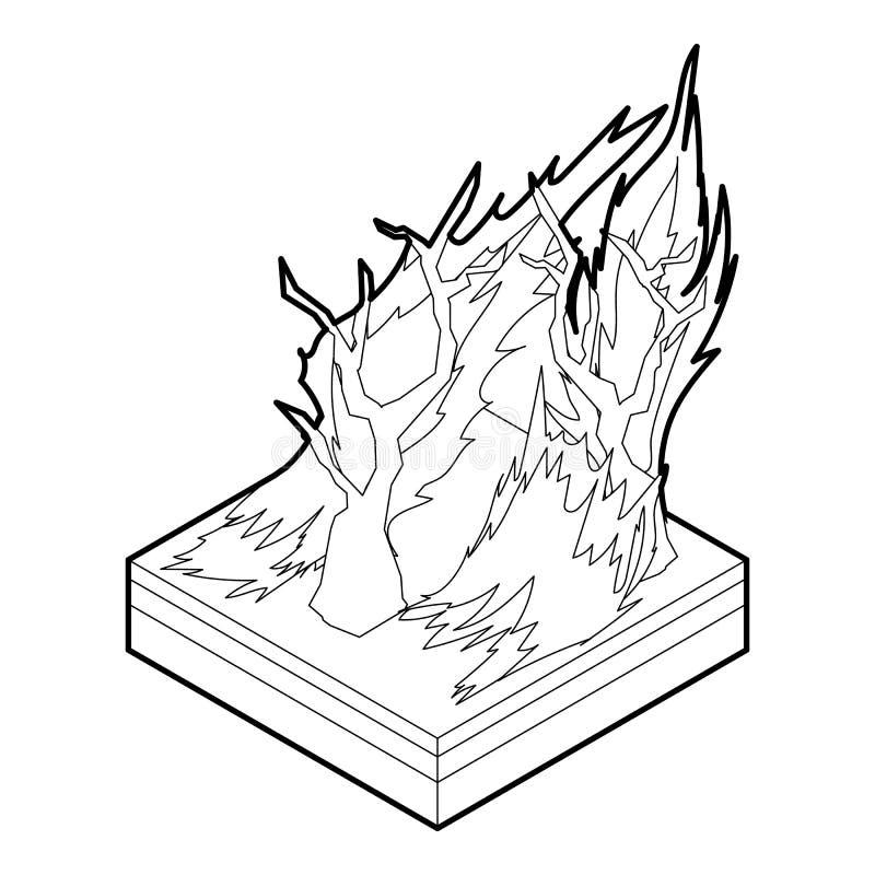 Ícone do incêndio florestal, estilo do esboço ilustração do vetor