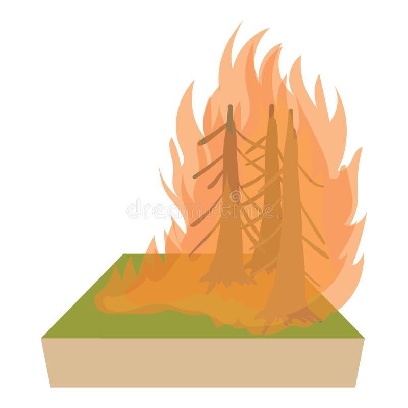 Ícone do incêndio florestal, estilo dos desenhos animados ilustração royalty free