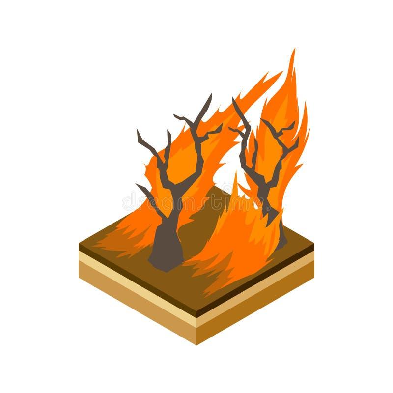 Ícone do incêndio florestal, estilo dos desenhos animados ilustração do vetor
