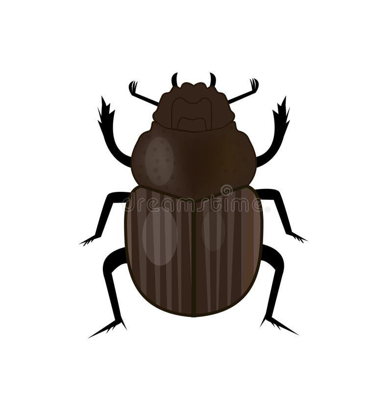 Ícone do inseto do besouro do escaravelho, estilo liso Símbolo de Egipto antigo Isolado no fundo branco Ilustração do vetor ilustração do vetor