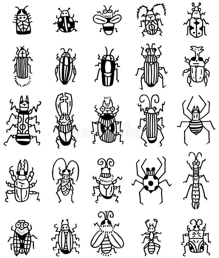 Ícone do inseto da tração da mão ilustração royalty free