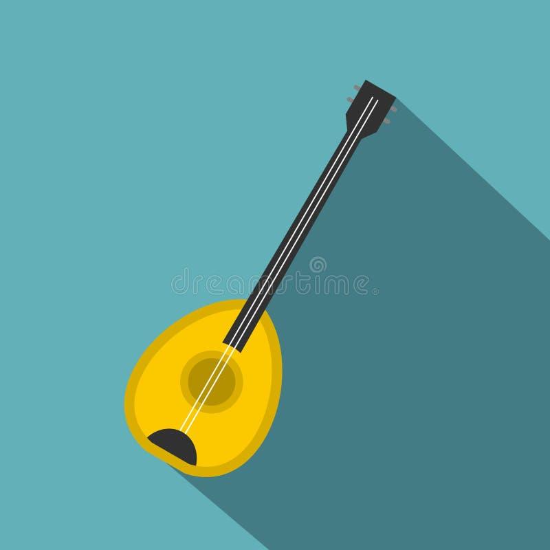 Ícone do instrumento de música do baglama de Saz, estilo liso ilustração stock