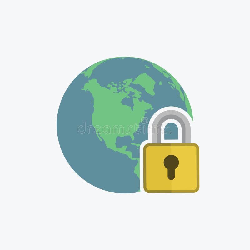 Ícone do Internet seguro Globo com sinal do cadeado Fixe o símbolo da rede global ilustração royalty free