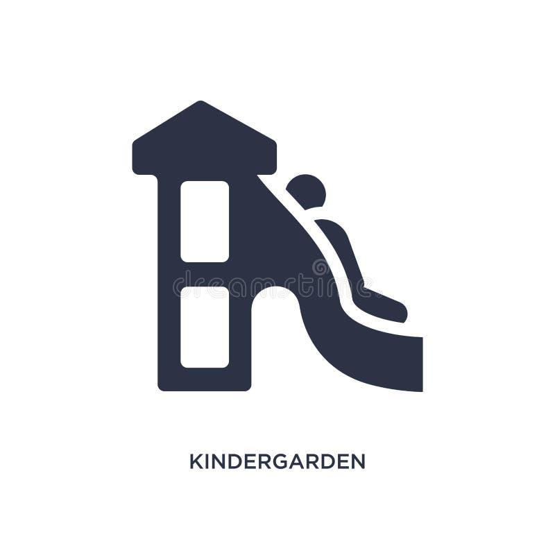 ícone do jardim de infância no fundo branco Ilustração simples do elemento do conceito da criança e do bebê ilustração do vetor