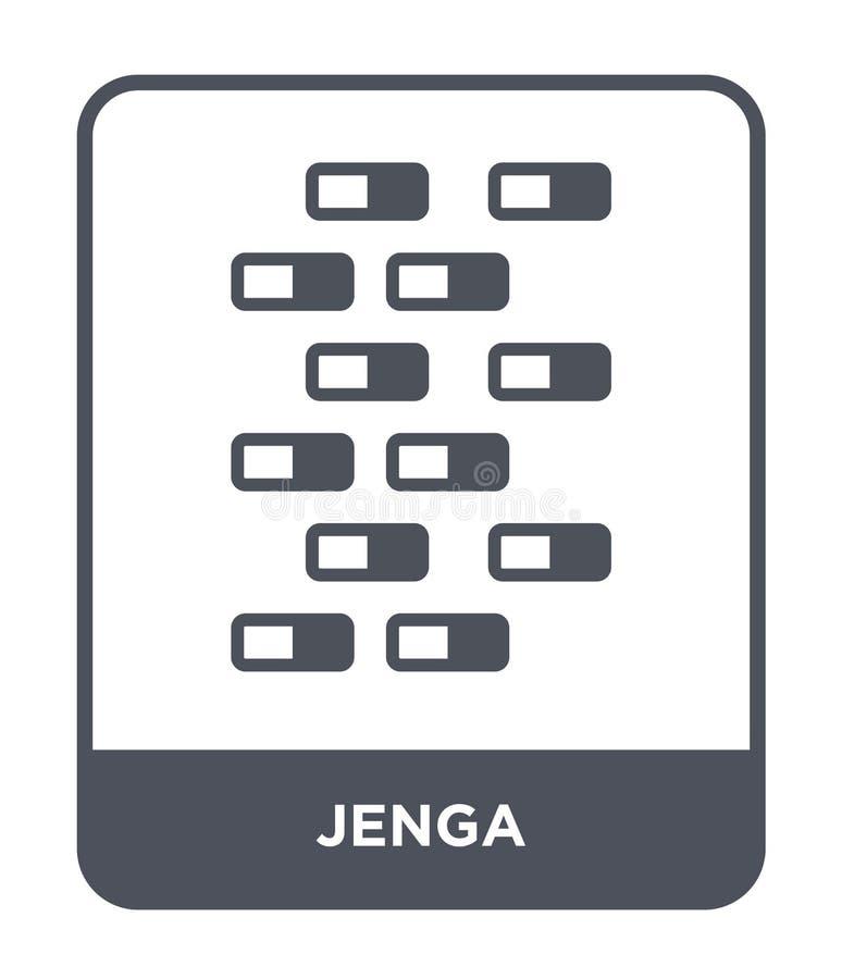 ícone do jenga no estilo na moda do projeto ícone do jenga isolado no fundo branco símbolo liso simples e moderno do ícone do vet ilustração stock