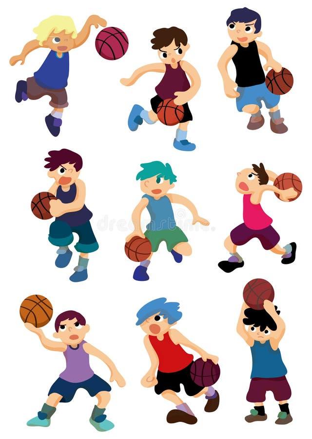 Ícone do jogador de basquetebol dos desenhos animados ilustração stock