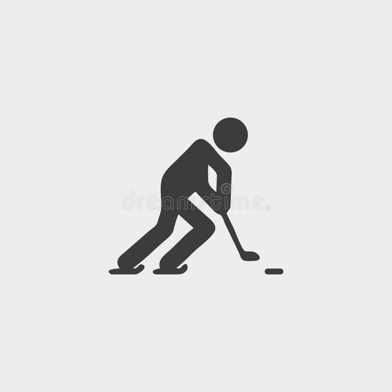 Ícone do jogador de hóquei em um projeto liso na cor preta Ilustração EPS10 do vetor ilustração do vetor
