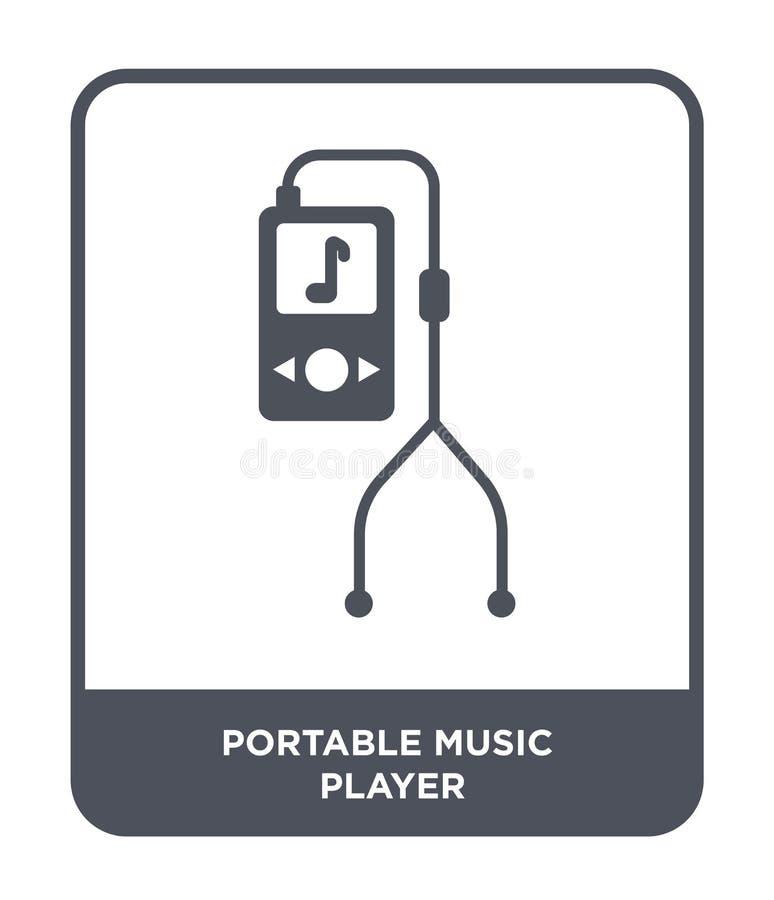 ícone do jogador de música portátil no estilo na moda do projeto ícone do jogador de música portátil isolado no fundo branco Joga ilustração stock