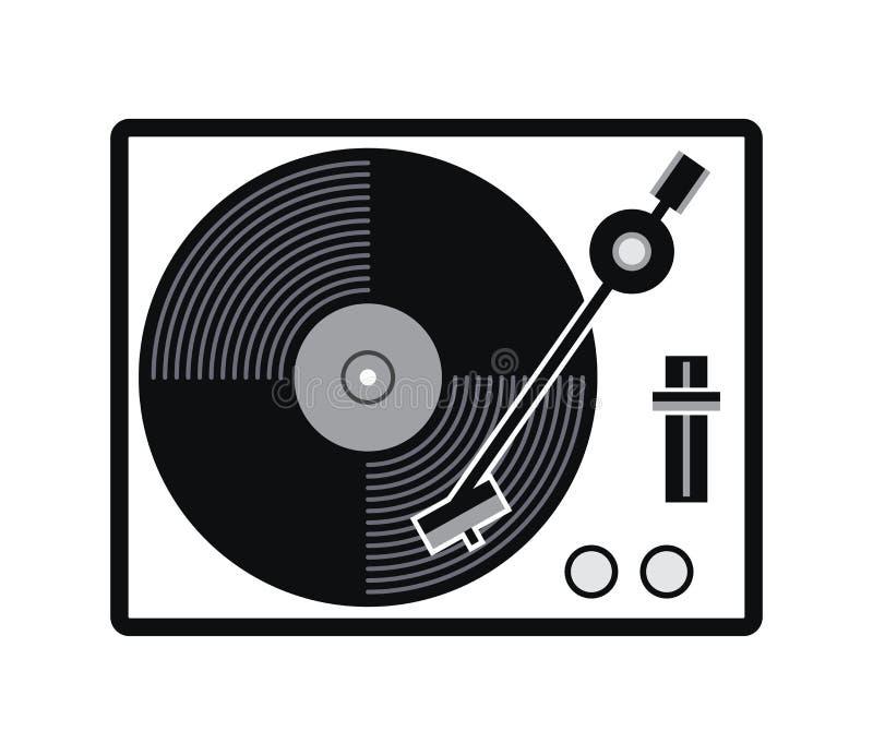 Ícone do jogador de registro do vinil da plataforma giratória ilustração stock