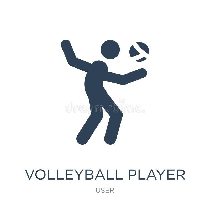 ícone do jogador de voleibol no estilo na moda do projeto ícone do jogador de voleibol isolado no fundo branco ícone do vetor do  ilustração royalty free