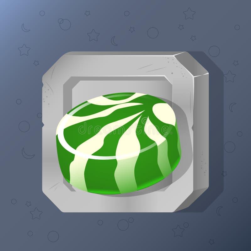 Ícone do jogo de doces verdes no estilo dos desenhos animados Projeto brilhante para a interface de utilizador do app Alimento pa ilustração royalty free