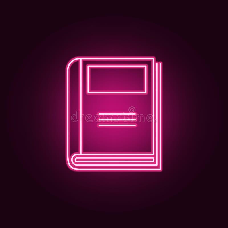 Ícone do jornal Elementos dos livros e dos compartimentos nos ícones de néon do estilo Ícone simples para Web site, design web, a ilustração royalty free