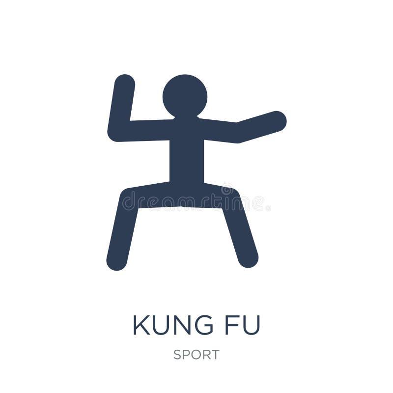 ícone do kung-fu Ícone liso na moda do kung-fu do vetor no backgroun branco ilustração royalty free