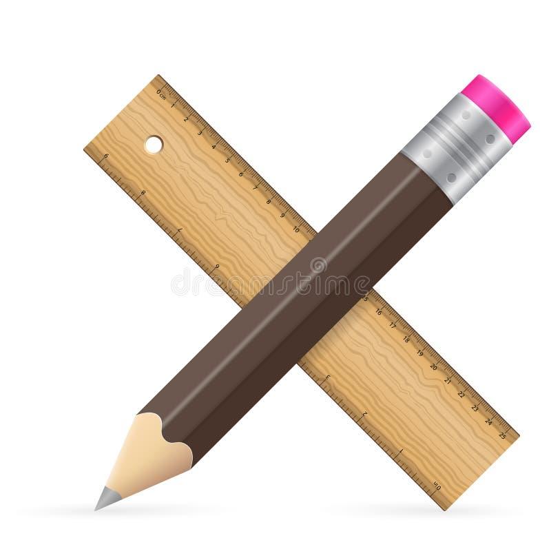 Ícone do lápis e da régua ilustração do vetor