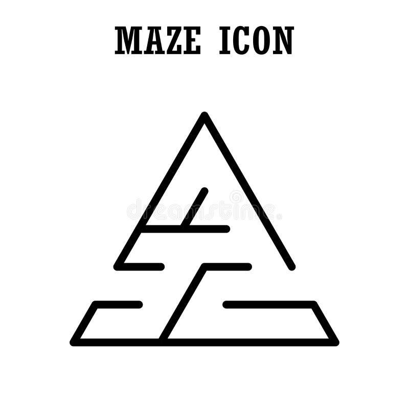 Ícone do labirinto ou do labirinto, forma triangular, isolada no backg branco ilustração royalty free