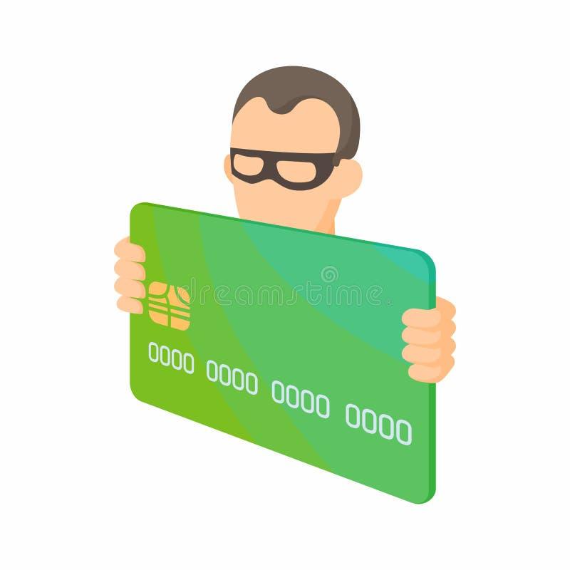 Ícone do ladrão do cartão de crédito, estilo dos desenhos animados ilustração royalty free
