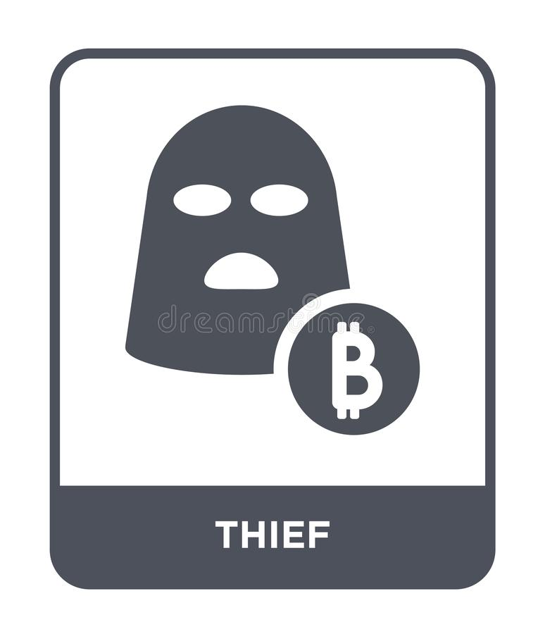 ícone do ladrão no estilo na moda do projeto ícone do ladrão isolado no fundo branco símbolo liso simples e moderno do ícone do v ilustração royalty free