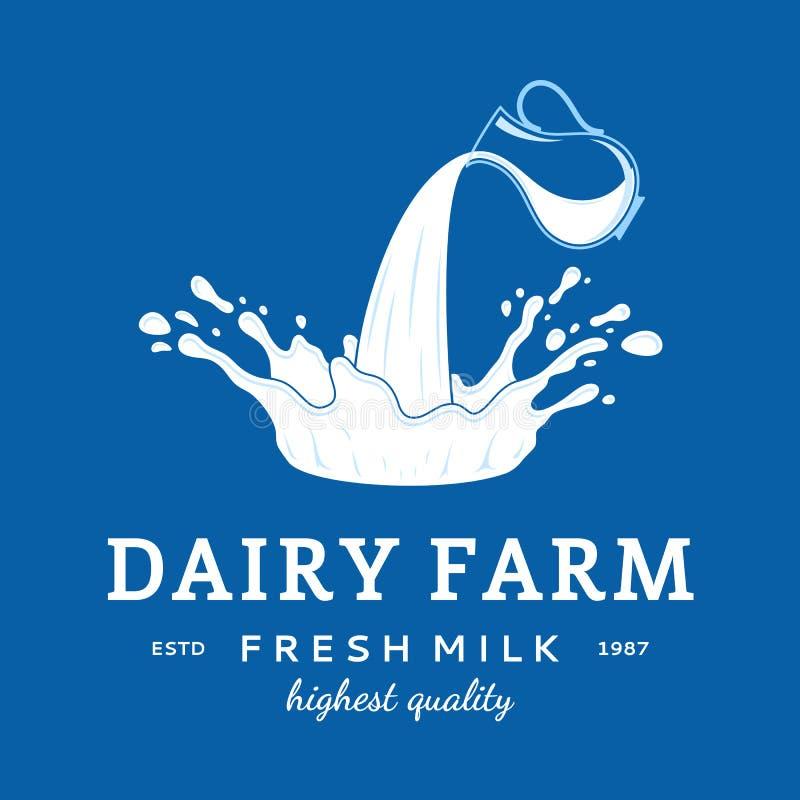 Ícone do leite Mancha do leite, do iogurte ou do creme Molde do logotipo do leite ilustração do vetor