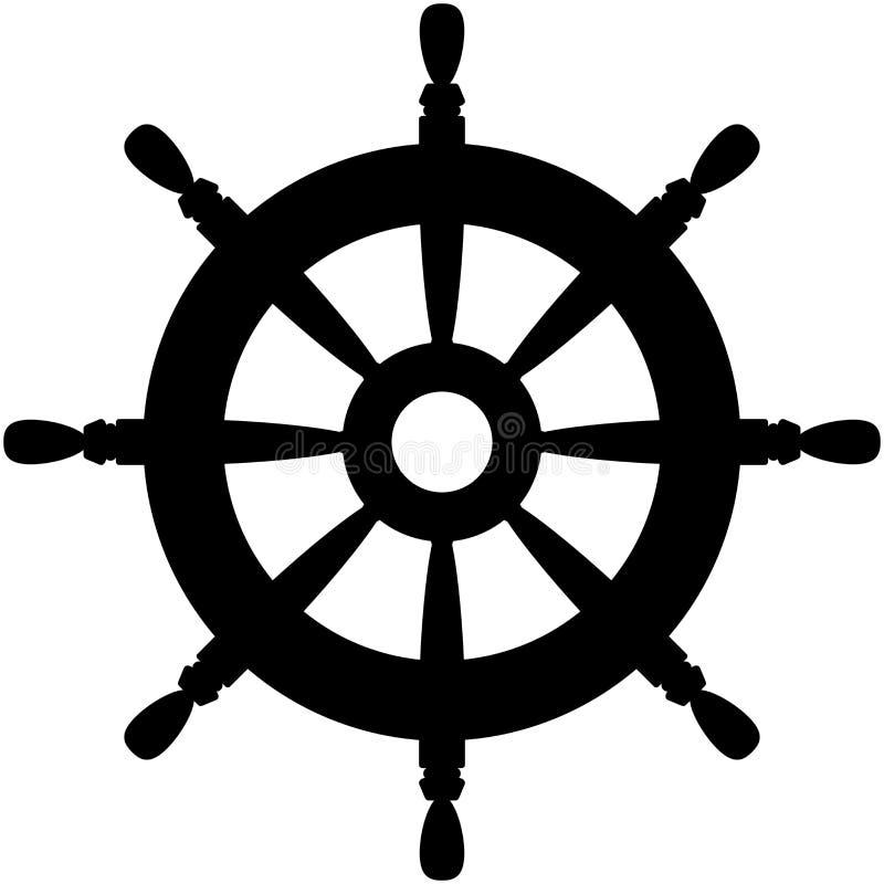 Ícone do leme Ilustração preta do vetor da silhueta ilustração do vetor