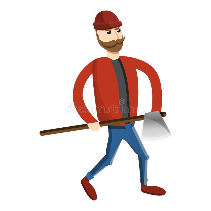 Ícone do lenhador do homem do machado, estilo dos desenhos animados ilustração royalty free